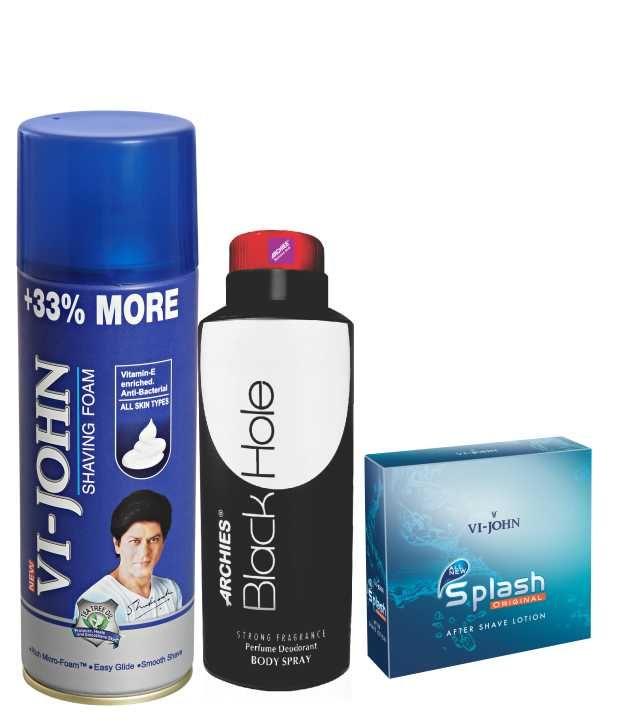 Buy Archies Deo Black Is Black & Vijohn Shave Foam 400gm For All Type Of Skin & After Shave Splash-(code-vj792) online
