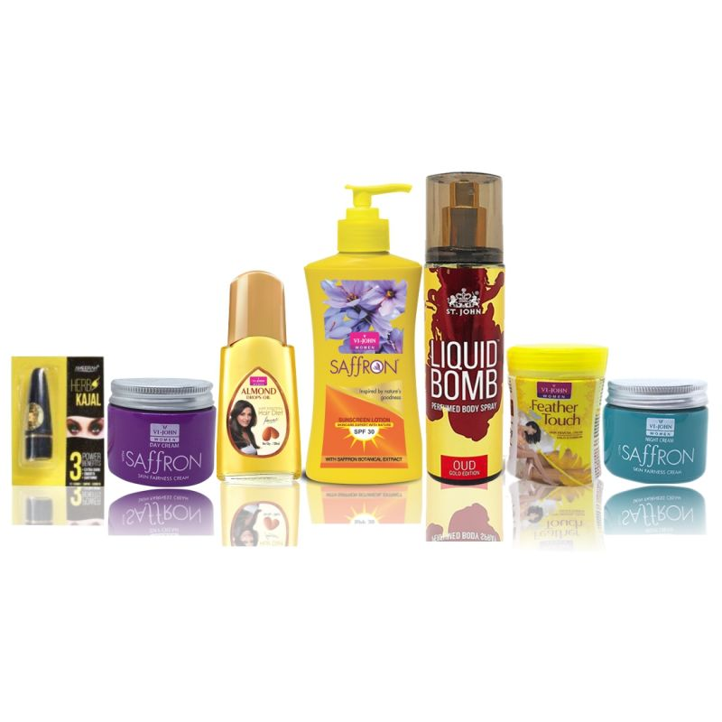 Buy Travel Kit For Women (hair Remover Haldi Chandna & Saffron Day/night Fairness Cream & Sunscreen Body Lotion & Almond Hair Oil & Deo Gold Oud & Kajal) online