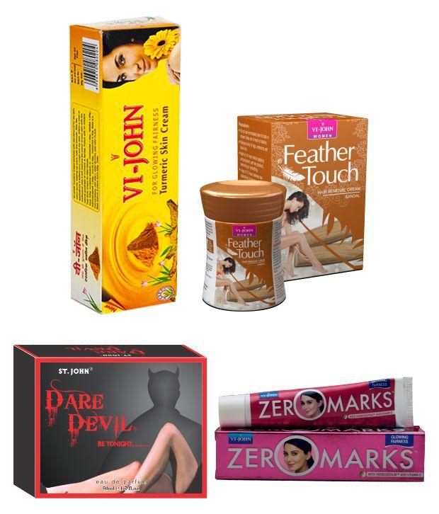 Buy St.john-vijohn Women Care Kit (hair Remover Sandal & Turmeric Cream Fairness Cream & Body Butter & Perfume Dare Davil)-(code-vj472) online