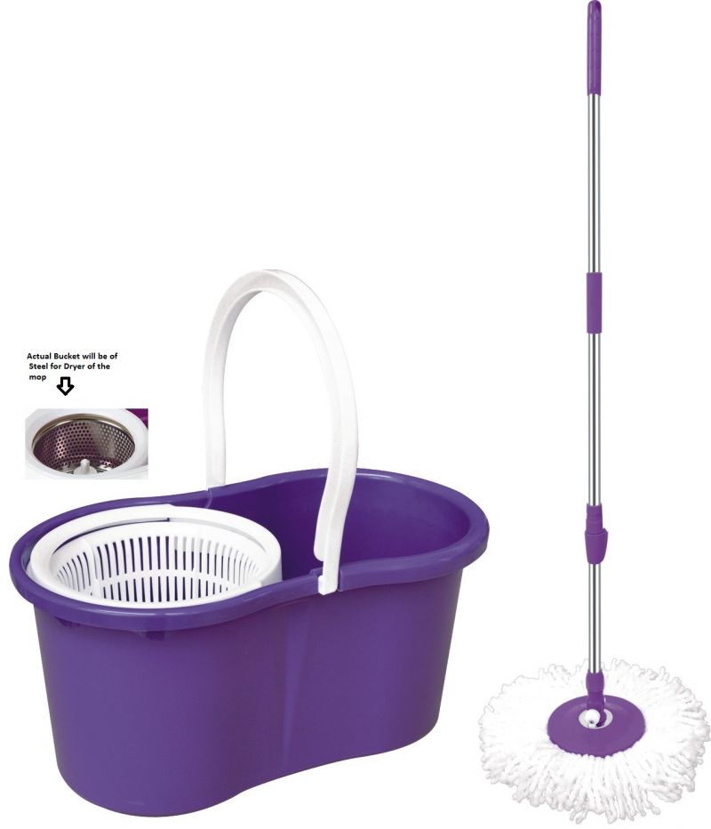 buy new magic spin mop stainless steel rotating spin 360 degrees floor cleaner online best prices in india rediff shopping