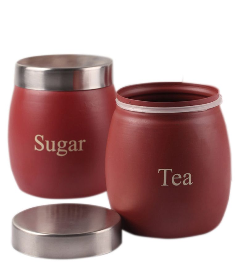 Buy Vibrant Maroon Barrel Tea & Sugar Canisters online