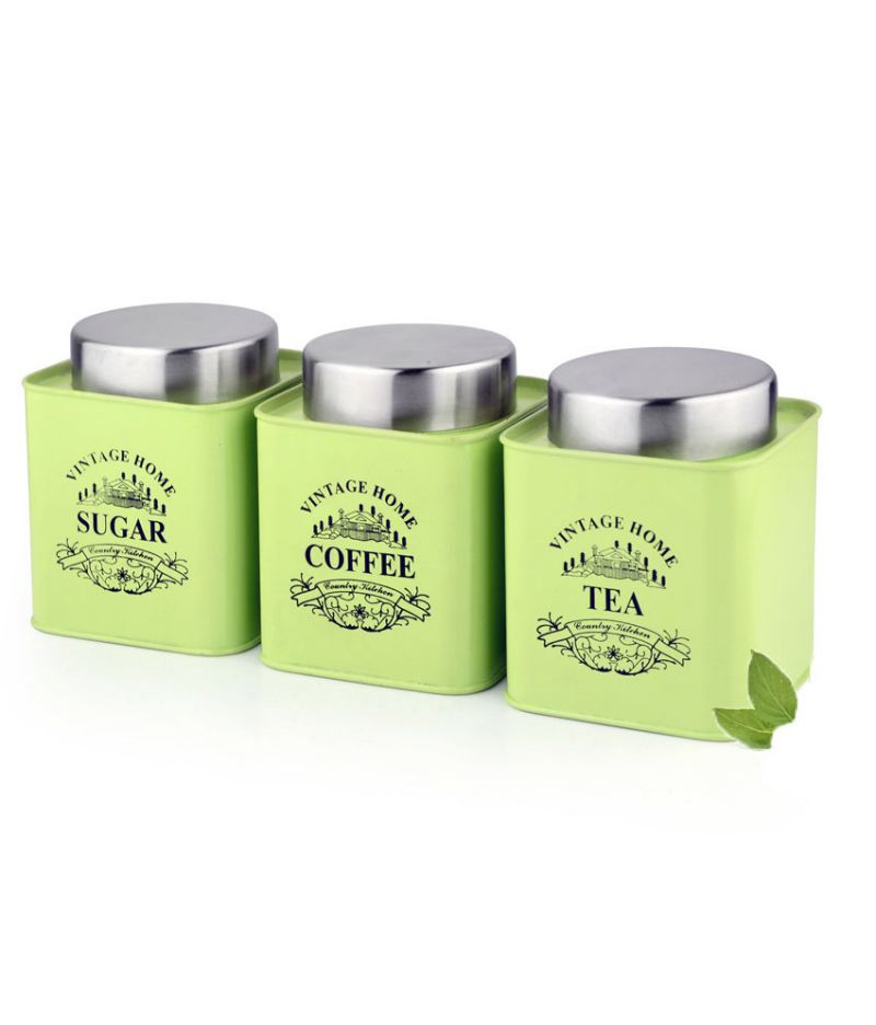 Buy Vibrant Green Color Square Tea, Coffee & Sugar Canister online