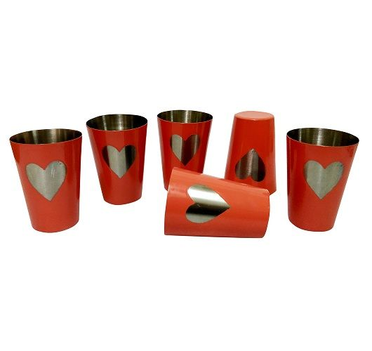 Buy Stainless Steel Set Of 6 Shot Glasses With Heart Shape online