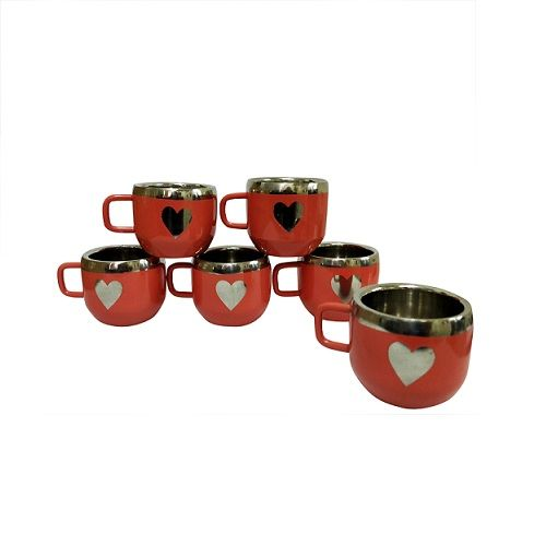 Buy Stainless Steel Set Of 6 Red Warm Apple Cup With Heart Shape online
