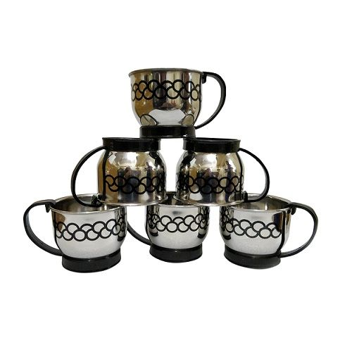 Buy Stainless Steel Set Of 6 Black Handle Double Wall Tea Cup online