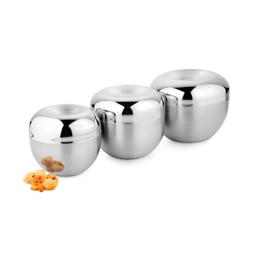 Buy Set Of 3 Stainless Steel Apple Canisters online
