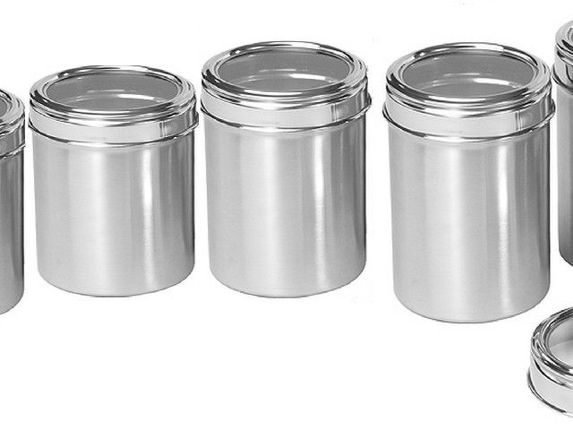 Buy Dynamic Store Stainless Steel Kitchen Storage Canisters With See Through Lid - Set Of 7 online