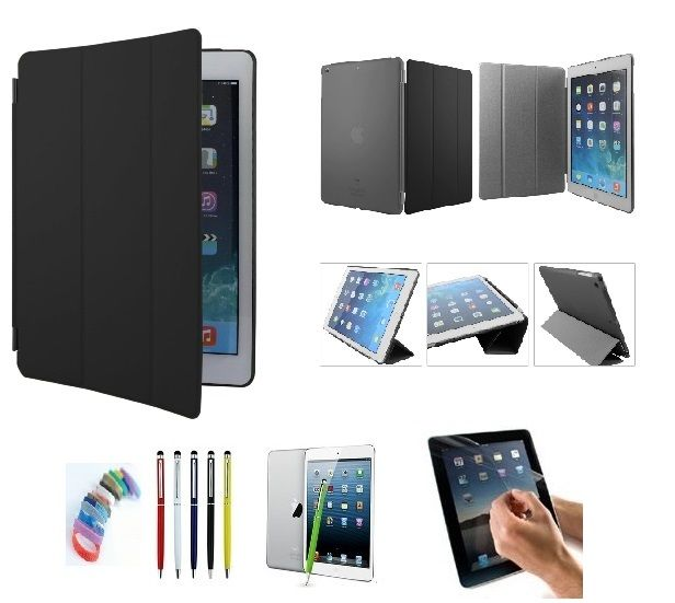 Buy Pu Leather Full 360 Degree Rotating Flip Book Case Cover Stand For Ipad Air5 (black) With Matte Screen Guard, Stylus And Wrist Band online