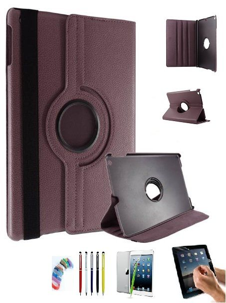 Buy Pu Leather 360 Degree Rotating Leather Case Cover Stand (brown) For Ipad Mini 2 Retina With Matte Screen Guard, Stylus And Wrist Band online