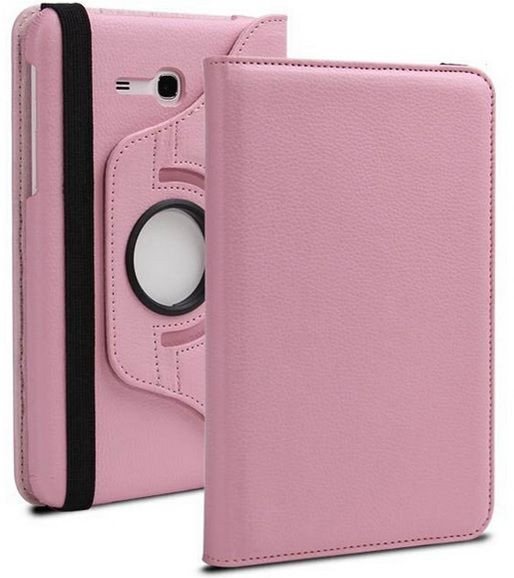 Buy Pu Leather 360 Deg Rotatable Leather Flip Case Cover For Samsung Tab 3 Neo T111 T110 Tablet (light Pink) online