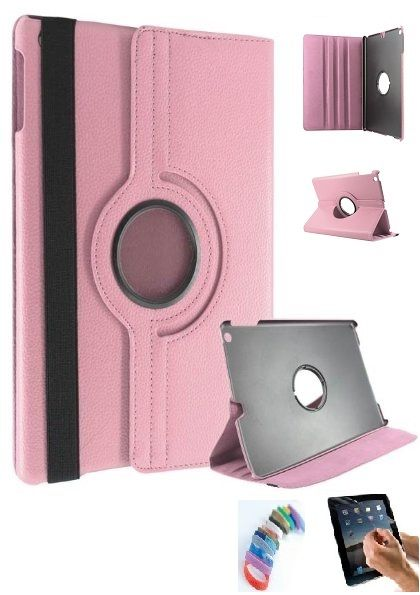 Buy Pu Leather Full 360 Rotating Flip Book Cover Case Stand For Samsung Galaxy Tab 3 T311 (light Pink) With Matte Screen Guard And Wrist Band online