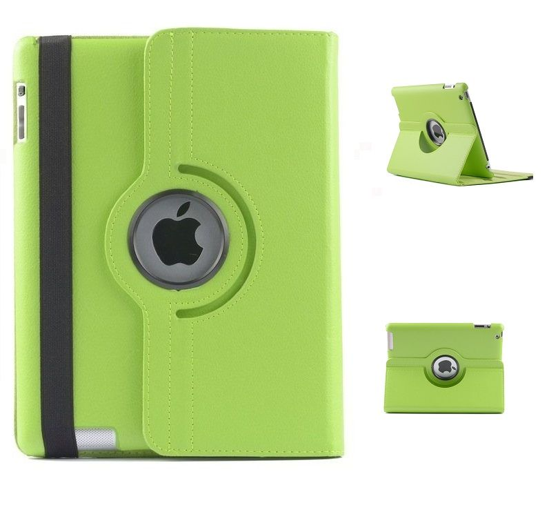 Buy Pu Leather Full 360 Degree Rotating Flip Book Case Cover Stand For Ipad 4 Ipad 3 Ipad 2 (green) online