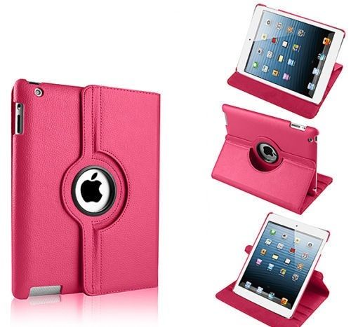 Buy Pu Leather Full 360 Degree Rotating Flip Book Case Cover Stand For Ipad 4 Ipad 3 Ipad 2 (hot Pink) online
