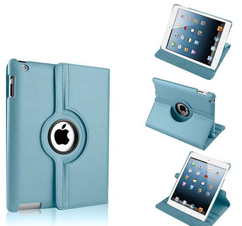 Buy Pu Leather Full 360 Degree Rotating Flip Book Case Cover Stand For Ipad 4 Ipad 3 Ipad 2 (sky Blue) online
