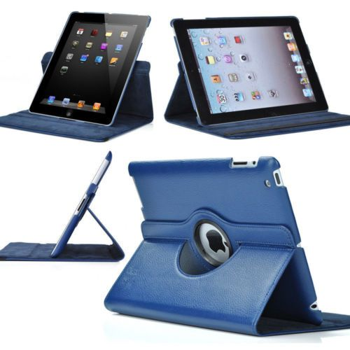 Buy Pu Leather Full 360 Degree Rotating Flip Book Case Cover Stand For Ipad 4 Ipad 3 Ipad 2 (navy Blue) online
