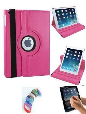 Buy Pu Leather 360 Degree Rotating Leather Case Cover Stand (hot Pink) For Ipad Mini 2 Retina With Matte Screen Guard And Wrist Band online