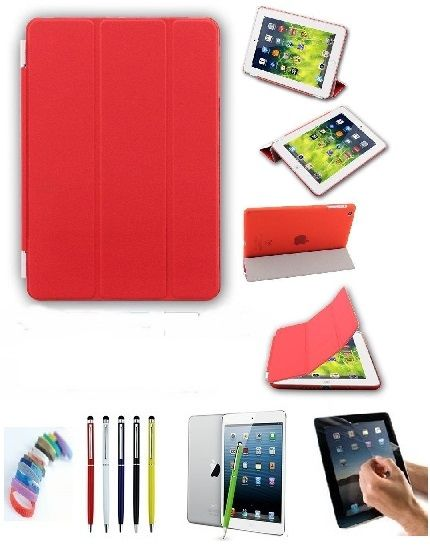 Buy Pu Leather Full 360 Degree Rotating Flip Book Case Cover Stand For Ipad 4 Ipad 3 Ipad 2 (red) With Matte Screen Guard, Stylus And Wrist Band online