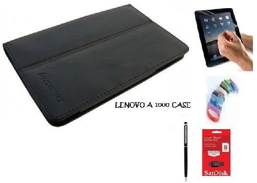 Buy Pu Leather Flip Book Case Cover Stand For Lenovo A3000 Ideatab (black) With Matte Screen Guard, Stylus, Wrist Band + 8GB Sandisk External Pendrive online