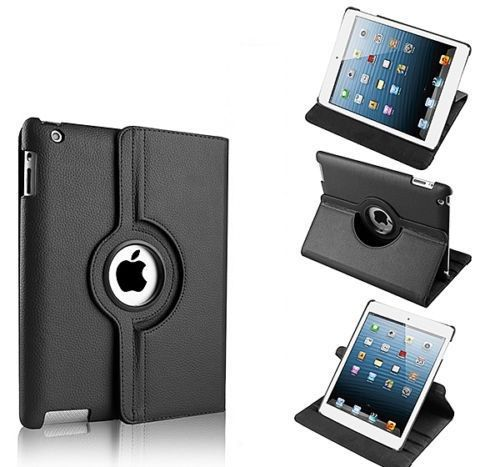 Buy Pu Leather Full 360 Degree Rotating Flip Book Case Cover Stand For Ipad 4 Ipad 3 Ipad 2 (black) online