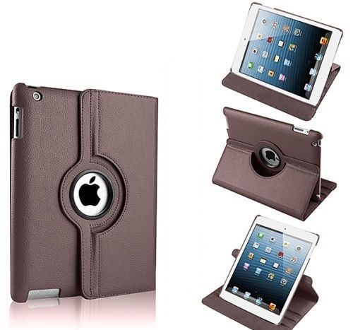 Buy Pu Leather Full 360 Degree Rotating Flip Book Case Cover Stand For Ipad 4 Ipad 3 Ipad 2 (brown) online