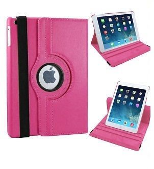 Buy Pu Leather Full 360 Degree Rotating Flip Book Case Cover Stand For Ipad Air 5 (hot Pink) online