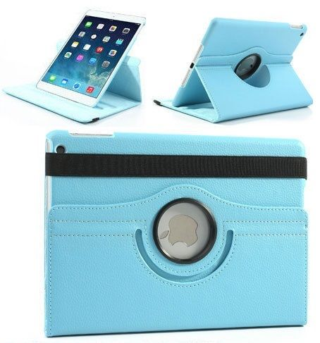 Buy Pu Leather Full 360 Degree Rotating Flip Book Case Cover Stand For Ipad Air 5 (sky Blue) online