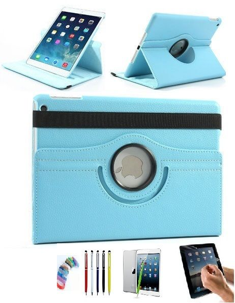 Buy Pu Leather Full 360 Degree Rotating Flip Book Case Cover Stand For Ipad Air5 (sky Blue) With Matte Screen Guard, Stylus And Wrist Band online