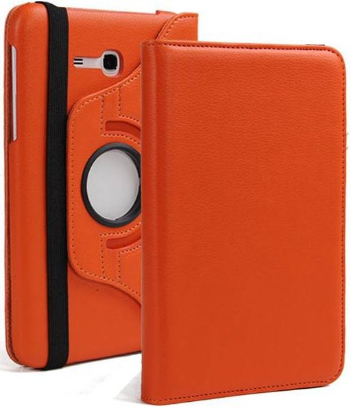 Buy Pu Leather 360 Deg Rotatable Leather Flip Case Cover For Samsung Tab 3 Neo T111 T110 Tablet (orange) online
