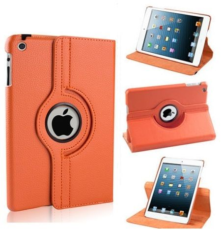Buy Pu Leather 360 Degree Rotating Leather Case Cover Stand (orange) For Ipad Mini 2 Retina online