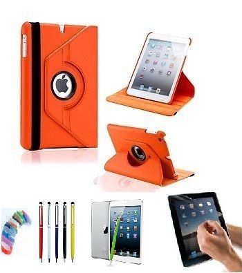 Buy Pu Leather 360 Degree Rotating Leather Case Cover Stand (orange) For Ipad Mini 2 Retina With Matte Screen Guard, Stylus And Wrist Band online