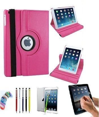 Buy Pu Leather 360 Degree Rotating Leather Case Cover Stand (hot Pink) For Ipad Mini 2 Retina With Matte Screen Guard, Stylus And Wrist Band online