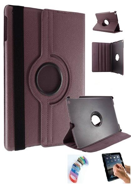 Buy Pu Leather Full 360 Degree Rotating Flip Book Case Cover Stand For Ipad 4 Ipad 3 Ipad 2 (brown) With Matte Screen Guard And Wrist Band online