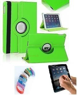 Buy Pu Leather Full 360 Degree Rotating Flip Book Case Cover Stand For Ipad 4 Ipad 3 Ipad 2 (green) With Matte Screen Guard And Wrist Band online
