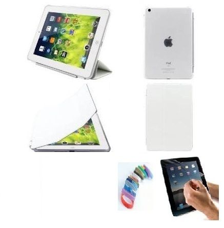 Buy Pu Leather Full 360 Degree Rotating Flip Book Case Cover Stand For Ipad 4 Ipad 3 Ipad 2 (white) With Matte Screen Guard And Wrist Band online