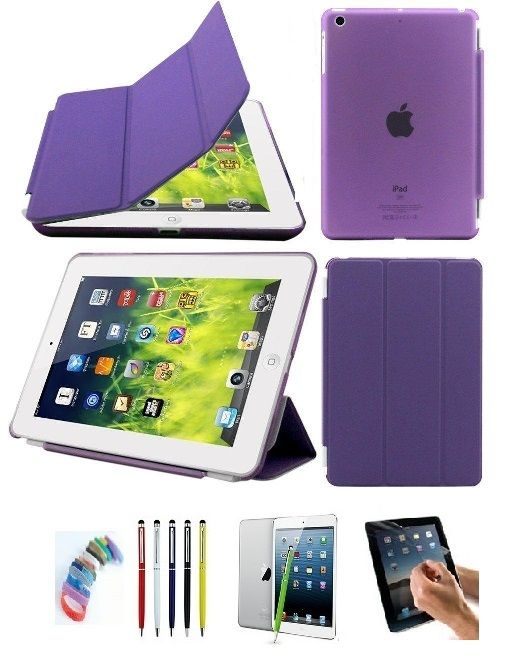 Buy Ultra Thin Magnetic Smart Case Clear Back Cover Stand For Apple Ipad Mini 2 Retina (purple) With Matte Screen Guard, Stylus And Wrist Band online