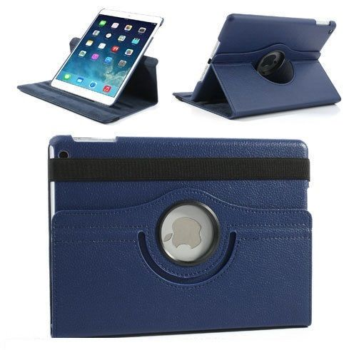 Buy Pu Leather Full 360 Degree Rotating Flip Book Case Cover Stand For Ipad Air 5 (navy Blue) online