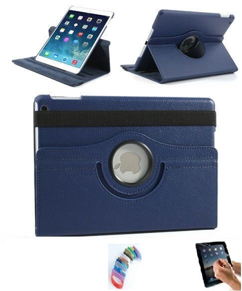 Buy Pu Leather Full 360 Degree Rotating Flip Book Case Cover Stand For Ipad 4 Ipad 3 Ipad 2 (navy Blue) With Matte Screen Guard And Wrist Band online