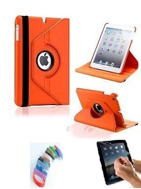 Buy Pu Leather 360 Degree Rotating Leather Case Cover Stand (orange) For Ipad Mini 2 Retina With Matte Screen Guard And Wrist Band online