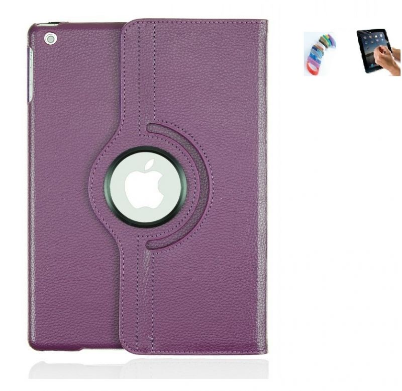 Buy Pu Leather Full 360 Degree Rotating Flip Book Case Cover Stand For Ipad Air 5 (violet ) With Matte Screen Guard And Wrist Band online