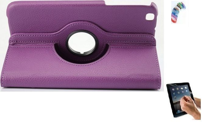 Buy Pu Leather 360 Degree Rotating Leather Case Cover Stand (violet) For Ipad Mini 2 Retina With Matte Screen Guard, Stylus And Wrist Band online