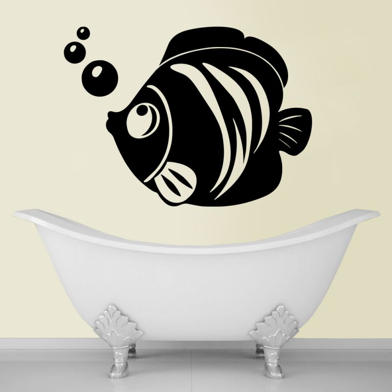 Buy Decor Kafe Decal Style Fish And Bubbles Large Wall Sticker online
