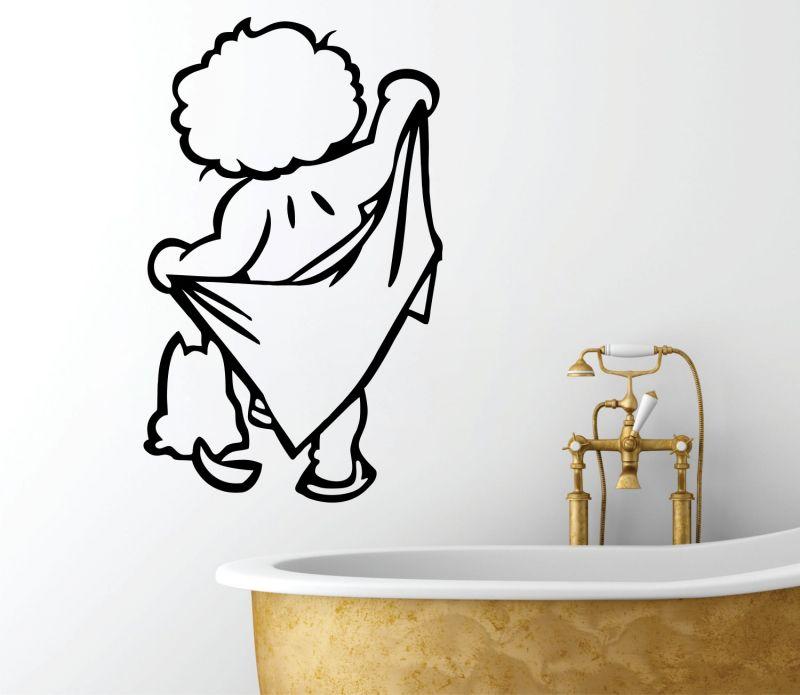 Buy Decor Kafe Decal Style Boy With Towel Medium Wall Sticker online
