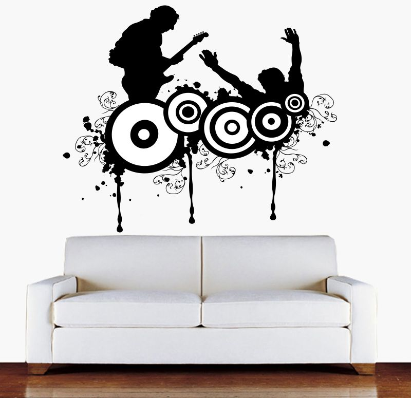 Buy Decor Kafe Decal Style Boy Playing Guitar Wall Sticker online