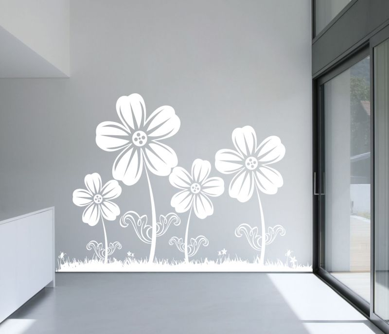 Buy Decor Kafe Decal Style White Sunflowers Wall Sticker online