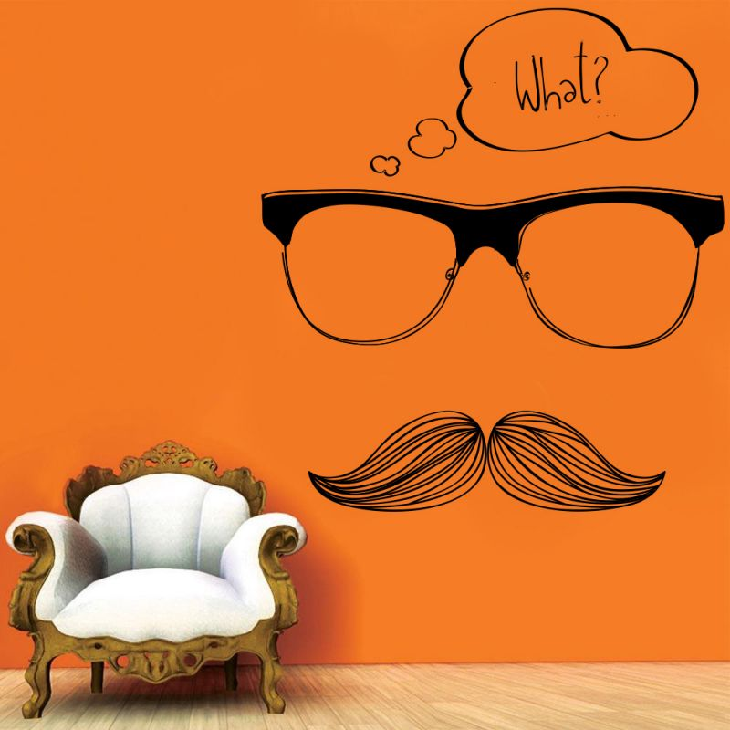 Buy Decor Kafe Decal Style Moustache Wall Sticker online