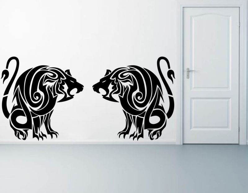 Buy Decor Kafe Decal Style Lions Roaring Wall Sticker online