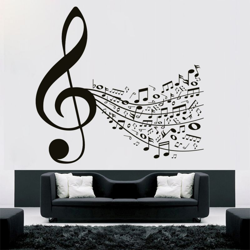 Buy Decor Kafe Decal Style Music Notes Wall Sticker online