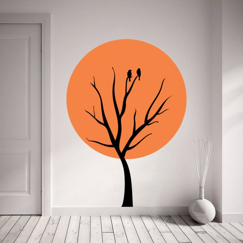 Buy Decor Kafe Decal Style Sparrow On Tree Wall Sticker online