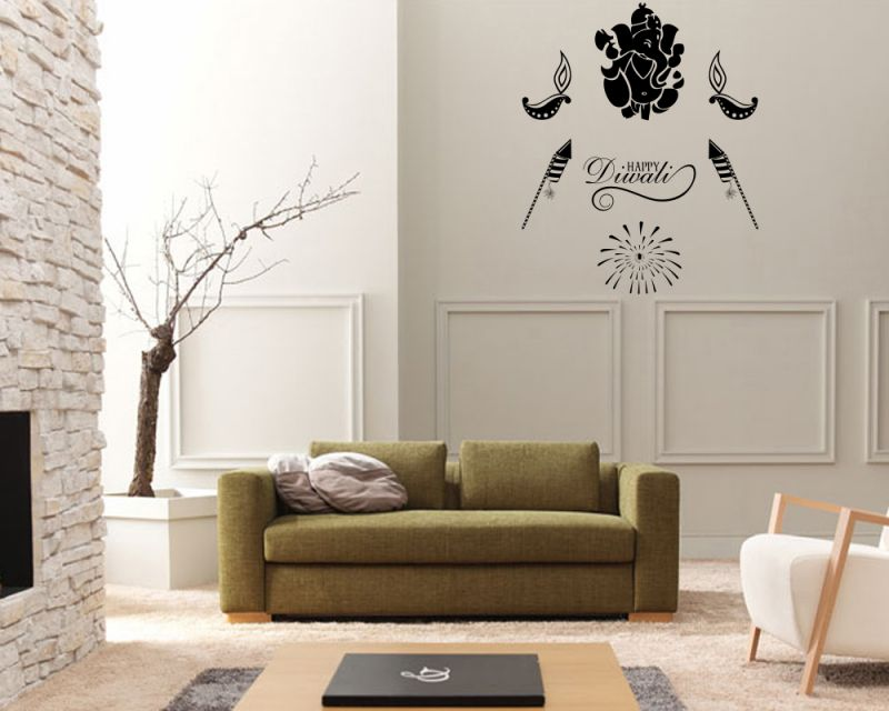Buy Decor Kafe Decal Style Attractive Happy Diwali Wall Sticker online