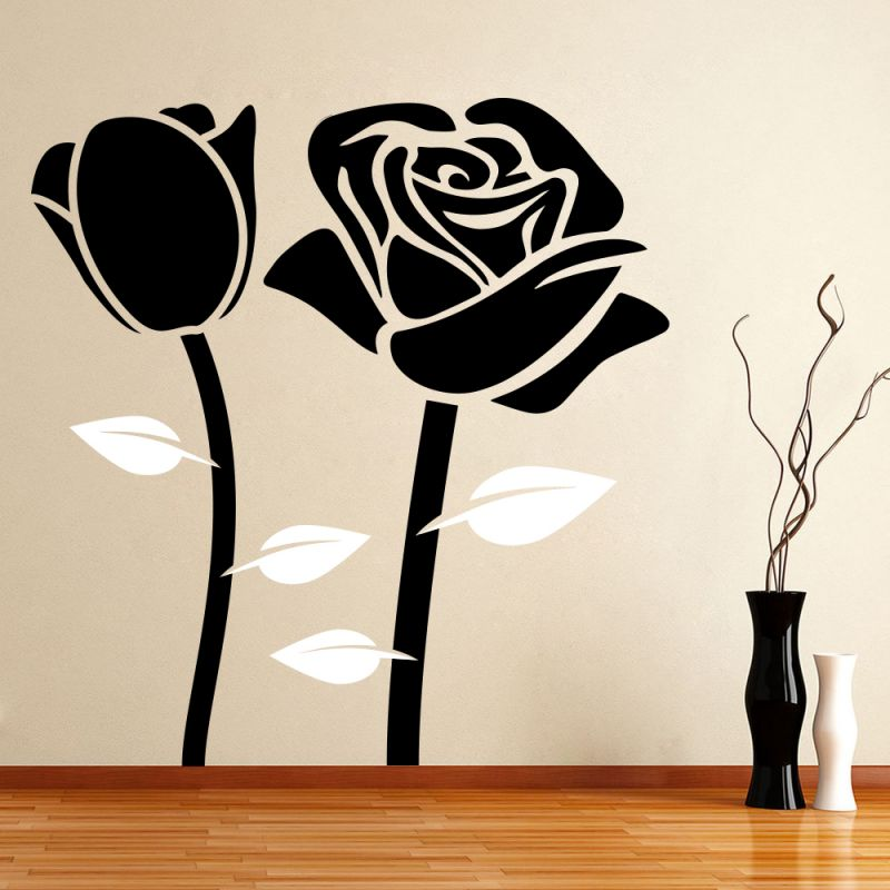Buy Decor Kafe Decal Style Attractive Black Rose Wall Sticker online